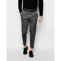 ASOS Slim Cropped Suit Pants In Pinstripe ($41) ❤ liked on Polyvore featuring men's fashion, men's clothing, men's pants, men's dress pants, multi, mens stretch pants, mens cropped pants, mens polyester pants, mens slim dress pants and mens tall pants