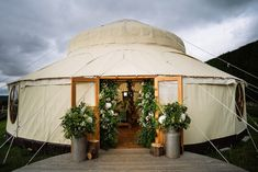 We love seeing how our couples decorate the outside of our Palace Yurt, I wonder what will be the choices this year.