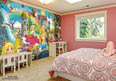 Pink little girl's bedroom with fairy tale princess wall mural
