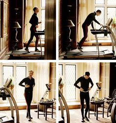 Mycroft Holmes working out. Hilarious! I love this scene