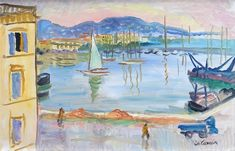'Cannes, Le Port' Oil on board: 33 x 51 cm Signed 'Ch Camoin', by Charles Camoin – Avant Garde Artists, Moving To Paris, Art Institute Of Chicago, Henri Matisse, Art Studies, Impressionist, Modern Art, Art Gallery, Fine Art