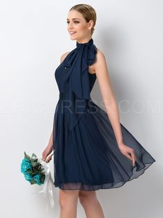 Ericdress Unique Halter Knee Length Bridesmaid Dress 4