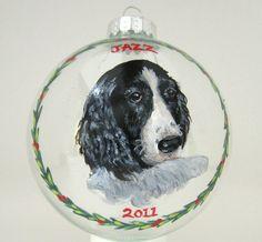 Christmas Pet Ornament Springer Spaniel Custom Portrait by petzoup, $27.50