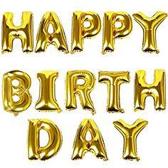 TRIXES Gold HAPPY BIRTHDAY Buchstaben Ballons