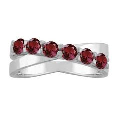 10K White Gold Round 6-stone Mothers Ring (Size 8.5,Rose Zircon), Women's, Pink