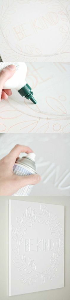 Make Canvas Wall Art with Glue is part of Canvas crafts Glitter - This is the easiest canvas wall art project you'll ever make all you need is some glue and your favorite paint color Customize with any saying you like! Crafts For Teens, Fun Crafts, Diy And Crafts, Arts And Crafts, Decor Crafts, Canvas Crafts, Diy Canvas, Canvas Wall Art, Painting Canvas