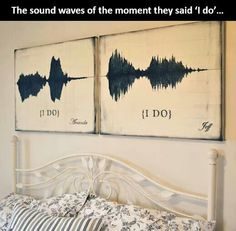 "The sounds waves of the moment they said ""I do"" - beautiful wall painting for master bedroom"