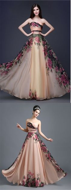 elegant sweetheart champagne chiffon prom dress with printed, fashion a-line strapless floral chiffon evening dress with ruched
