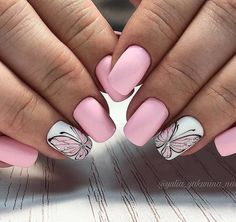 Домашний маникюр | Дизайн ногтей новинки Manicure Nail Designs, Nail Manicure, Diy Nails, Nail Art Designs, Disney Acrylic Nails, Blush Pink Nails, Butterfly Nail Art, Nagellack Trends, Beautiful Nail Designs