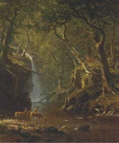 Albert Bierstadt (1830-1902) - Cascading Falls, oil on canvas, 111.8 x 91.4 cm. 1863.