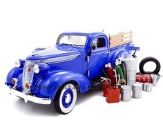 1937 Studebaker Pickup Truck Blue With Accessories 1/24 Diecast Truck by Unique Replicas   Car Intensity
