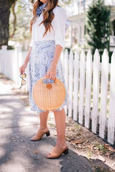 Gal Meets Glam Three Looks In And Around Charleston - J.McLaughlin top, skirt, bag & sunglasses c/o, MDS Stripes scarf & sandals