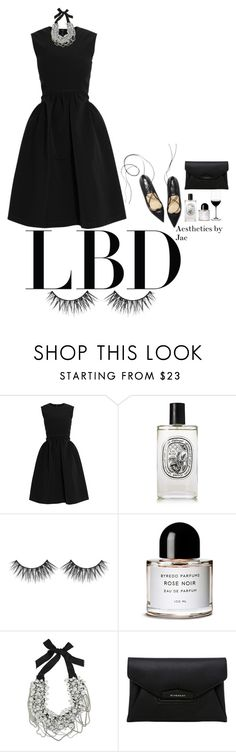 """LBD"" by sincerelyjae ❤ liked on Polyvore featuring Preen, Diptyque, Huda Beauty, Byredo, Oscar de la Renta, Givenchy and Riedel"