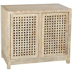Salisbury 2-Door Grated Cabinet Natural Cabinets & Hutches