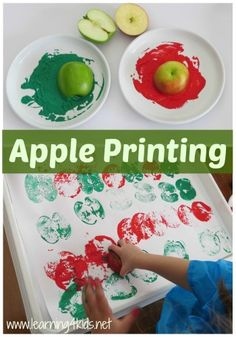 Alphabet Activities for Toddlers Apple Printing for preschool have them stamp out letters that you stencil for them :)