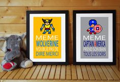 2 affiches citation superhéros Wolverine et Captain par alexiableu