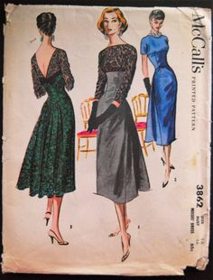 McCall's 3862 Cocktail Dress Sz16/36/38 The bodice of dress with high neckline in front & deep V in back has empire line & darted midriff which attaches to skirt at waistline.The slim fitting skirt in front & fullness added in back.ViewA has lace bodice with contrasting fabric for midriff and skirt.ViewB has lace for entire dress with ribbon bow detail in back.ViewC made entirely in self fabric.env fair complete unused printed sld 122.5+2.62 13bds 10/19/16