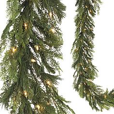 This plastic Pre-lit Mixed Pine and Cedar Garland incorporates the look of both cedar and pine tree branches. The garland features 100 clear lights.
