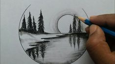 beginners nature drawing easy step scenery pencil drawings landscape sketches cool steps
