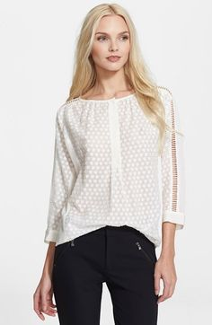 Rebecca Taylor Dot Ladder Stitch Top available at #Nordstrom