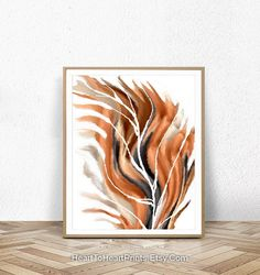 Feather Art Print Large Wall Art Orange Abstract Painting | Etsy