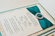 Bling & Satin Wedding Invitation in Luxe Emerald and Gold by PennyAnnDesigns, $9.25