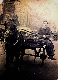 Christy Clifford on cart Dublin Street, Dublin City, Old Pictures, Old Photos, Vintage Photos, Photo Engraving, Horse Drawn, Dublin Ireland, Back In The Day