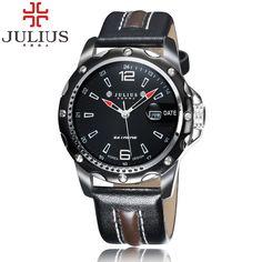 2017 Top Brand JULIUS Luxury Men's quartz Watch Leather Calendar Business Wristwatch Boy Military Casual Watch Relogio Masculino #Affiliate