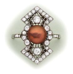 Art Deco Burgundy bronze natural pearl, diamond