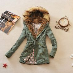 2012 women's vintage military style hoody fur collar medium long Army... ❤ liked on Polyvore