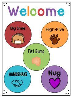 Welcome Greeting Signs - Classroom culture - Classroom Rules, Classroom Behavior, Classroom Setting, Preschool Classroom, Classroom Organization, In Kindergarten, Preschool Activities, Classroom Management, Beginning Of The School Year