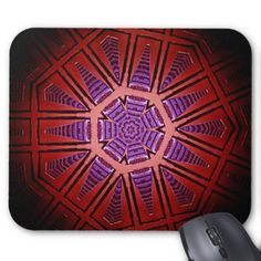 Mousepad with a red hexagon design created from a photo of a tall building in Adelaide South Australia