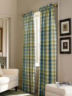 Moire Plaid Rod Pocket Curtains Country Living Room