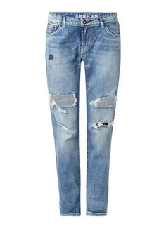 Denham Monroe mid rise boyfriend jeans met destroyed detail