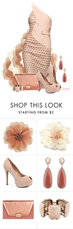 """Blushing Beauty"" by rockreborn ❤ liked on Polyvore featuring Wallis, H&M, Versace, Irene Neuwirth, Dorothy Perkins and Matthew Williamson"