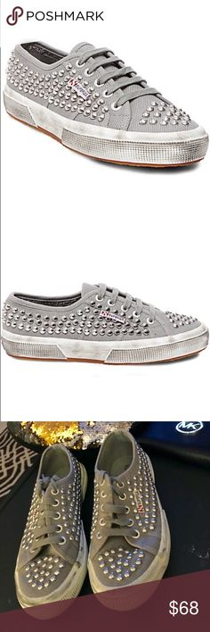Superga studded sneakers / tennis shoes These are an awesome pair of tennis shoes.  Metal studs and a scuffed up effect on the rubber sole. These kicks will give any look some edge.  - Lace-up closure with metal eyelets - Loop signature tag at side  - Cushioned footbed provides sustained comfort for all-day wear - In excellent condition Superga Shoes Sneakers