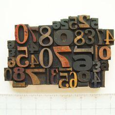 Vintage Letterpress Set Wood Type Random Numbers