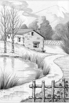 New Art Drawings Sketches Pencil Landscape 32 Ideas Landscape Pencil Drawings, Landscape Sketch, Pencil Art Drawings, Art Drawings Sketches, Easy Drawings, Sketch Art, Landscape Illustration, Drawing Art, Drawing Ideas