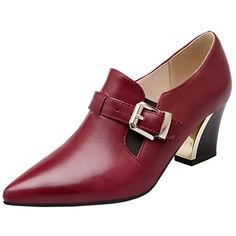 ENMAYER Women's Wine Red Gorgerous Pointed Toe Buckle Mid...…