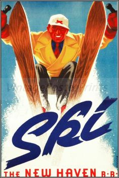 POSTER 1948 WINTER SPORT SKI NEW HAVEN CONNECTICUT SKIING VINTAGE REPRO FREE S//H