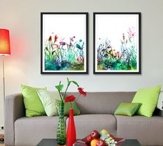 Flowers Art Print Set Home Decor Watercolor by FineArtCenter