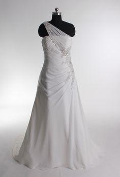 Gorgeous one shoulder A-line chapel train bridal gowns