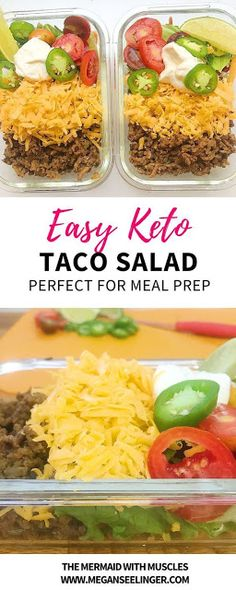 These easy keto meal prep ground beef taco salads are low carb and a quick recipe to follow. You can really add whatever taco toppings you'd prefer, however, to keep it Keto I'd stay away from corn and go easy on the black beans if you decide to add those. The best Keto friendly Taco toppings are Cheddar cheese, Avocado/guacamole, Shredded lettuce, Jalapeno, Onions, Bell peppers, Sour cream, Cilantro. Try out these keto taco bowls with your favorite taco toppings #salad #recipe #easydinner…