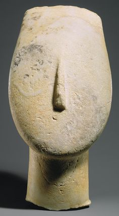 Head from the figure of a woman, ca. 2700–2500 b.c.; Early Cycladic I–II. Cycladic; Keros-Syros culture. The Metropolitan Museum of Art, New York. Gift of Christos G. Bastis, 1964 (64.246) #noses #Connections