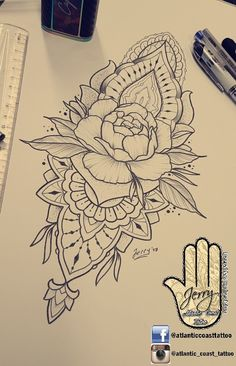 Beautiful peony rose flower tattoo idea design for a thigh arm by dzeraldas jerry kudrevicius from Atlantic Coast tattoo. Mandala detail pretty patterns and lace ornamental drawing