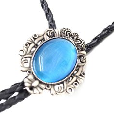 Lychee Opal Pendant Leather Bolo Bola Tie Necktie Western Cowboy Rodeo Necklace