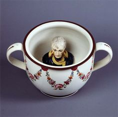 Regency Chamber pot with head of Napoleon, Britain, ca. 1805  They were Very Popular from what I have read. See gag gifts have always been around!