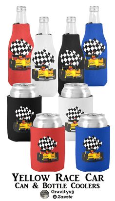 Yellow  Race Car with Checkered Flag Can Cooler by Gravityx9 Designs and Sports4you - Vroom, Vroom! Pink Race Car is a real winner can cooler can be personalized! Add add background color and text, too! Available as a can cooler and a bottle cooler - Personalize with a background color of your choice or text ~ racing fans will love the options! Nice gift or stocking stuffer.