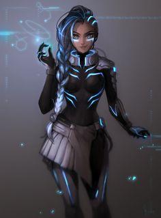 Cyber Space Sombra, Matilda Vin on ArtStation at https://www.artstation.com/artwork/QB5WB - More at https://pinterest.com/supergirlsart/ #overwatch #fanart