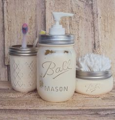 Cream Mason Jars and Mason Jar Soap Dispenser by HomeDecorbyDiane